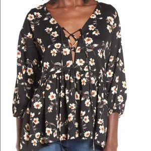 Lucca Couture floral lace up blouse